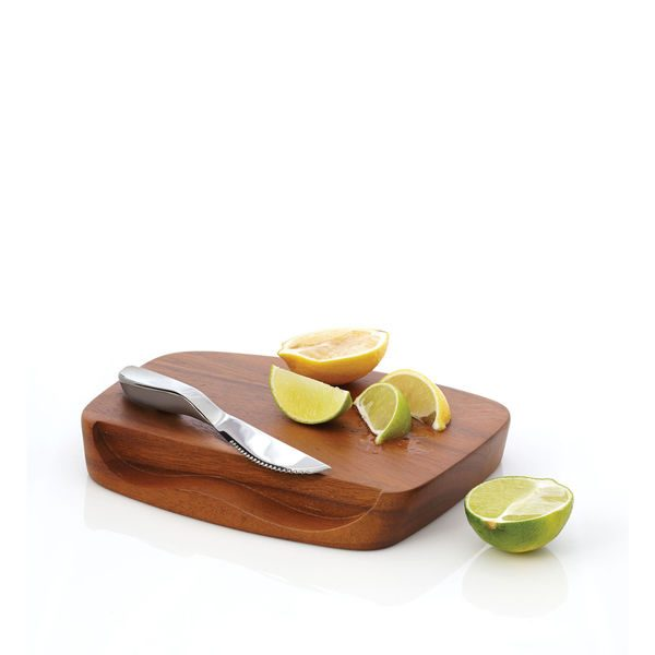 Nambe Blend Bar Board with knife and fruit