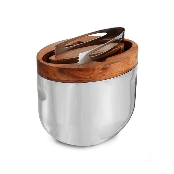 Nambe Mikko Ice Bucket W/ Tongs