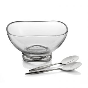 Nambe Braid Salad Bowl w/Servers