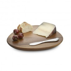 Nambe Xeon Cheese Board w/Spreader (with food)