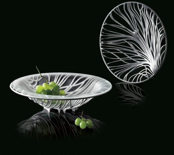 Bugatti Flora White Fruit Bowl with Glass Insert (black background)