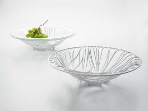 Bugatti Flora White Fruit Bowl with Glass Insert (white background)
