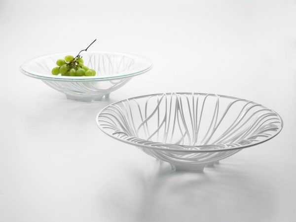 Bugatti Flora White Fruit Bowl with Glass Insert (white background)