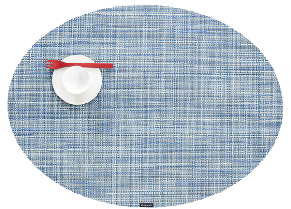 Chilewich Mini Basketweave Placemat - Chambray - Oval