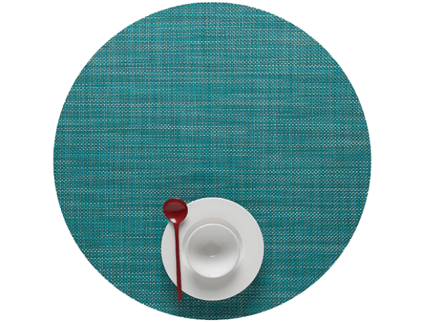 Chilewich Mini Basketweave Placemat - Turquoise - Round