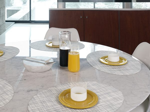 Chilewich Mini Basketweave Placemat - Mist - Oval - Place Setting