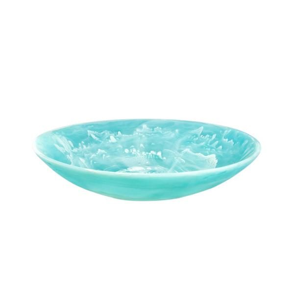 Everyday Large Resin Bowl Aqua Swirl