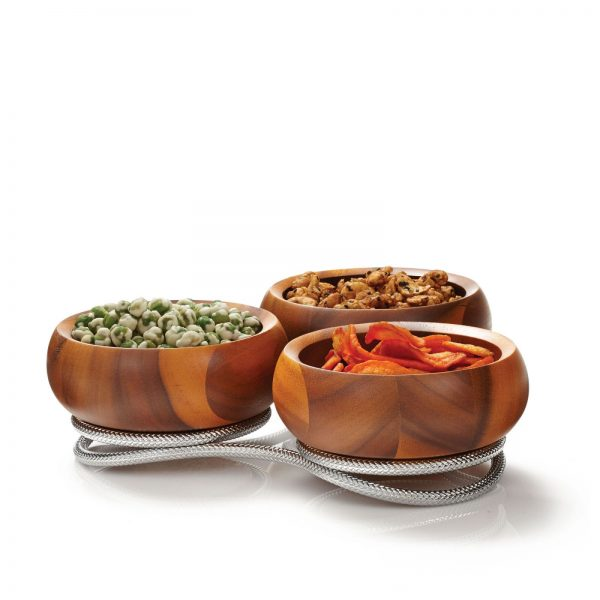 Braid Wooden Condiment Server pictured with condiments
