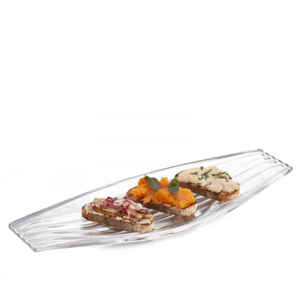 Drift Glass Hors D'oeuvre Tray with Hors D'oeuvres