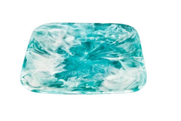 Square Tray Large Aqua Swirl
