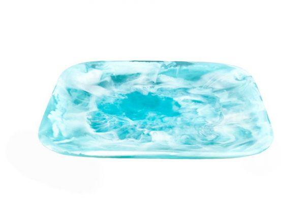Square Tray Medium Aqua Swirl