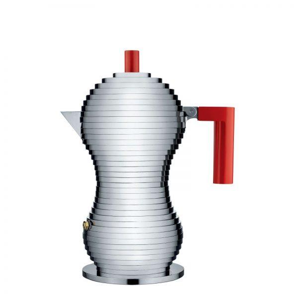 Alessi Pulcina Expresso Coffee Maker - 3 cups - red