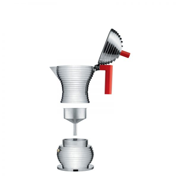 Alessi Pulcina Expresso Coffee Maker - 3 cups - red - parts