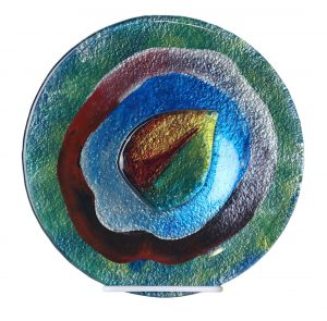 10 Inch Art Glass Plate - Blue