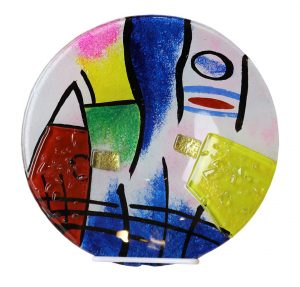 10 Inch Art Glass Plate - Multi