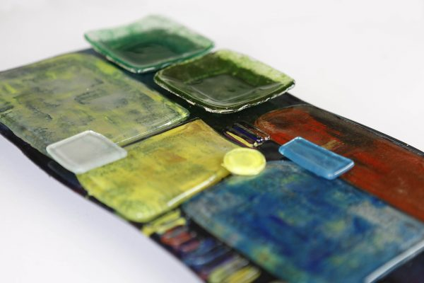 Art Glass Cheese Plate Style 2 - close up