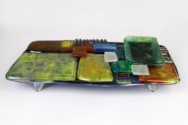 Art Glass Cheese Plate Style 3 - side view