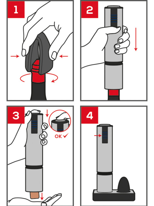 diagram of how to use the Elis Touch rechargeable electric corkscrew
