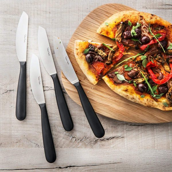 Robert Welch Set of 4 Pizza Knives next to pizza