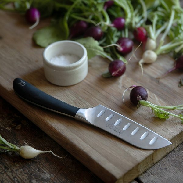"11cm/4.25"" Santoku Knife on cutting board"