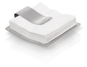 Scudo Napkin Holder pictured with napkins