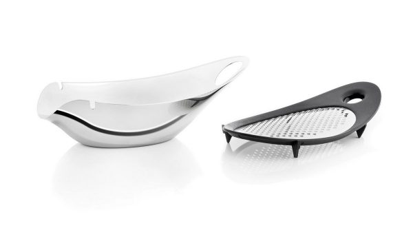 Navetta polished cheese graterand bowl, separated