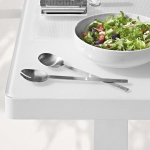 Easy Salad Servers on table next to salad bowl