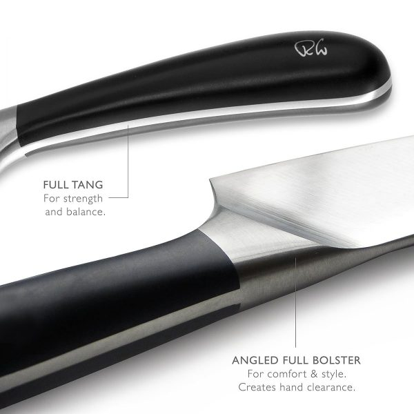 full tang - for balance and strength - angled full bolster - for comfort and style, creates hand clearance