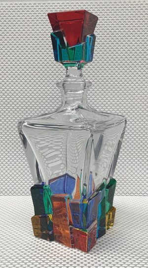 Italian Glass Cracked Ice Collection Decanter