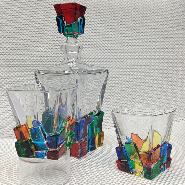 Italian Glass Cracked Ice Collection Decanter and Two Whiskey Glasses