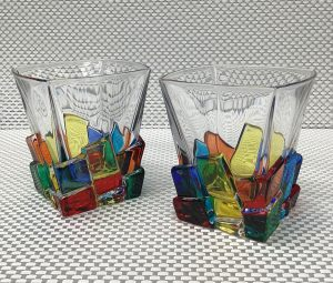 Italian Glass Cracked Ice Collection Two Whiskey Glasses