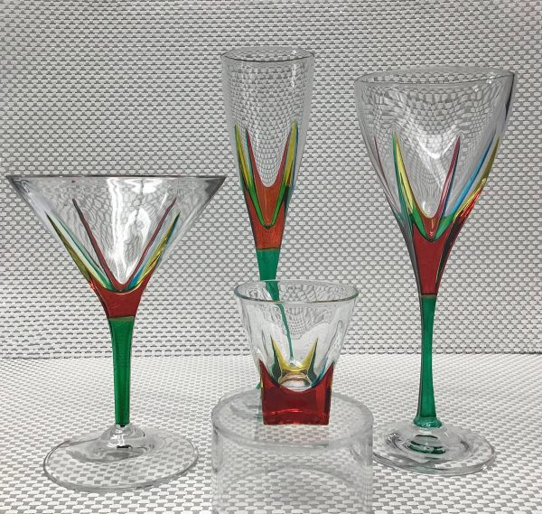 Italian Glass Fusion Collection - Wine Glass, Martini Glass, Champagne Flute and Shot Glass - green stems