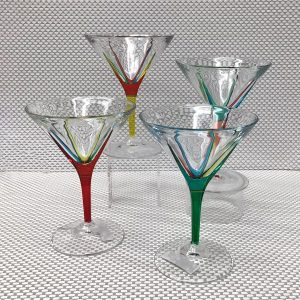 Italian Glass Fusion Collection - Four Martini Glasses