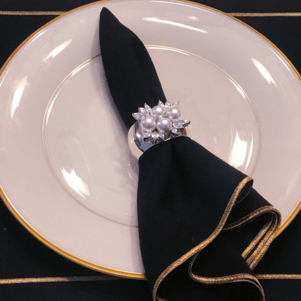 Isabella Adams Pearl & Crystal Napkin Ring pictured with place setting