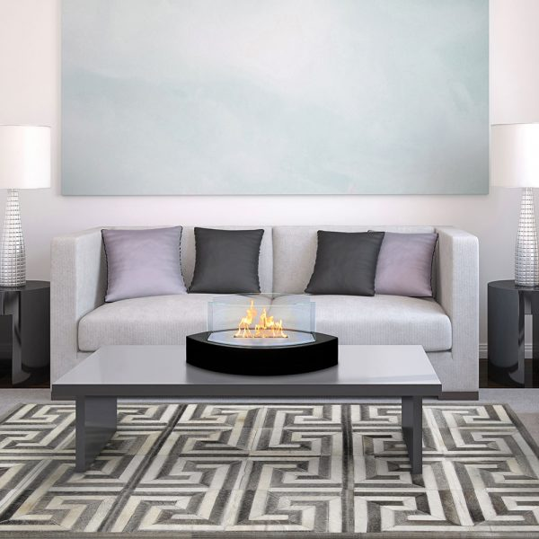 Table Fireplace - Black - in living room