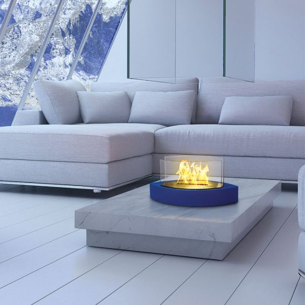 Table Fireplace - Blue - in living room