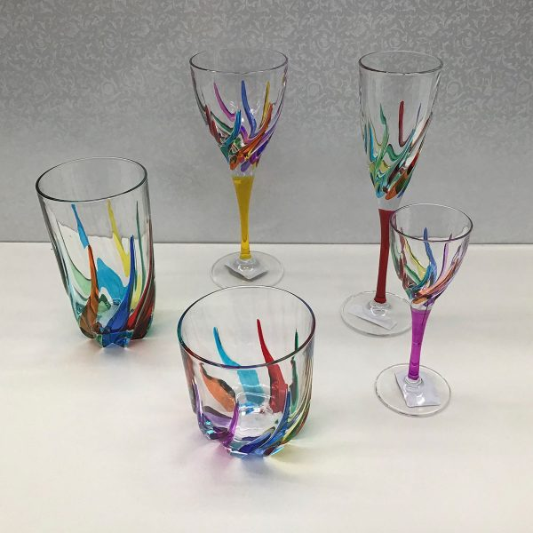 Italian Glass Trix Collection - Wine Glass, Hi-Ball, Double Old Fashioned, Cordial/Liquore, Champagne Flute