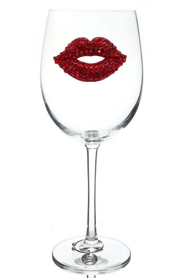 Jeweled Stemmed Wine Glass - Red Lips
