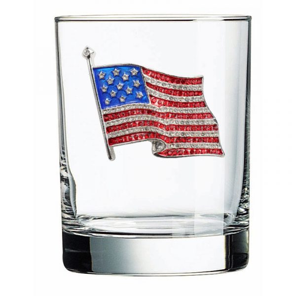Jeweled Double Old Fashion Glass - American Flag