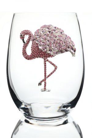 Jeweled Stemless Wine Glass - Flamingo