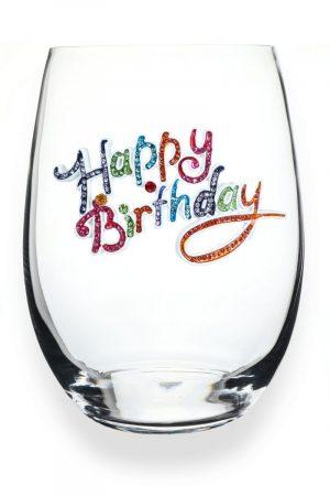 Jeweled Stemless Wine Glass - Happy Birthday