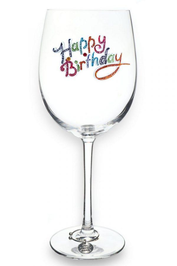 Jeweled Stemmed Wine Glass - Happy Birthday