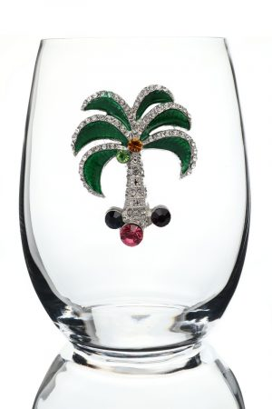 Jeweled Stemless Wine Glass - Palm Tree