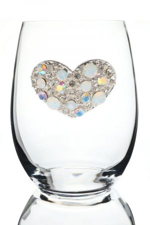 Jeweled Stemless Wine Glass - Crystal Heart