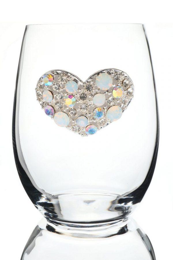 Jeweled Stemless Wine Glass - Crystal Heart