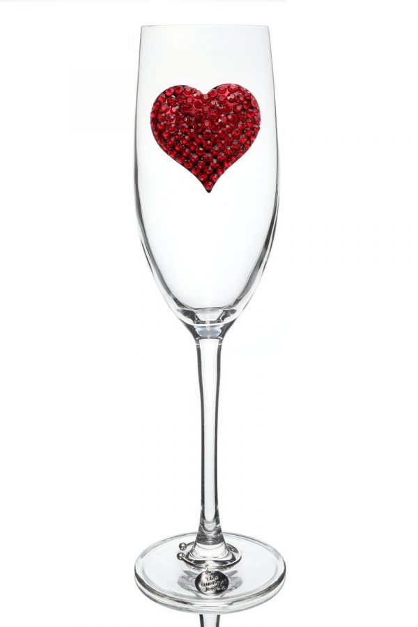 Jeweled Champagne Glass - Red Heart