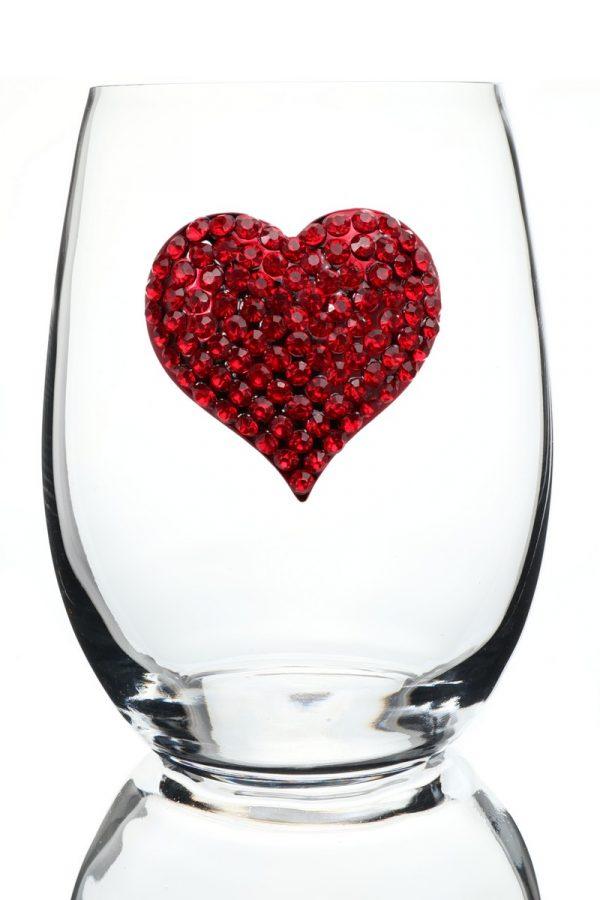 Jeweled Stemless Wine Glass - Red Heart