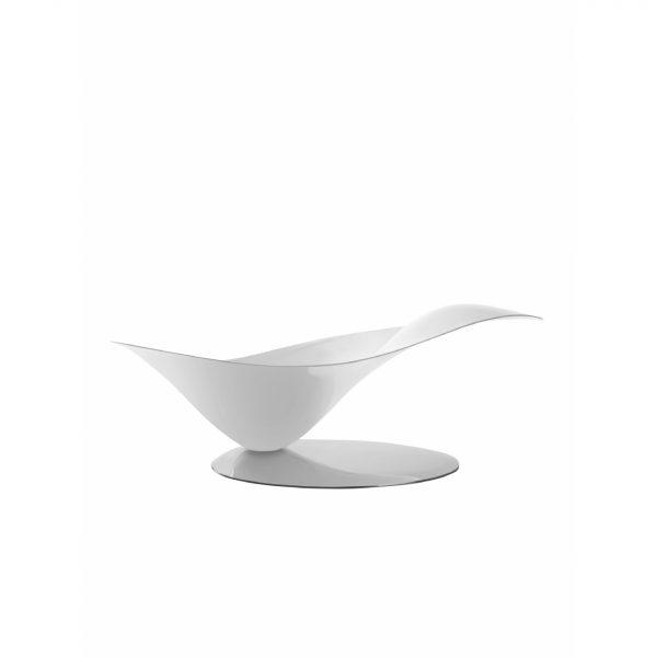 Bugatti Petalo Bowl White with Silver Base