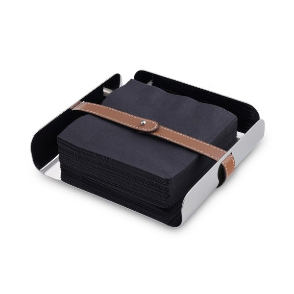 Nambe Tahoe Napkin Holder with black napkins - not included