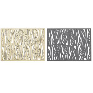 Golden and Dark Grey Placemat with abstract plant pattern
